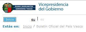 cabecera web boletín oficial del país vasco