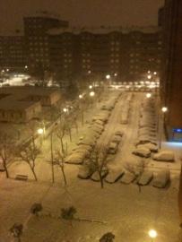 Vitoria nevada desde la ventana de la sala